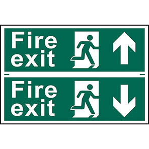 """Spectrum Industrial """"Fire Exit"""" Down Arrow Sign (Pack of 2)"""