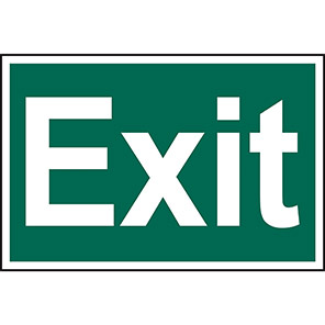 """Spectrum Industrial Self-Adhesive PVC """"Exit"""" Sign 200mm x 300mm"""