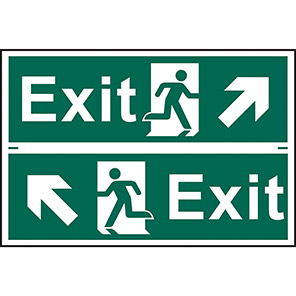 "Spectrum Industrial Self-Adhesive ""Exit"" Diagonal Arrow Sign (Pack of 2)"