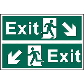"Spectrum Industrial ""Exit"" Diagonal Arrow Sign (Pack of 2)"