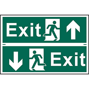 """Spectrum Industrial Self-Adhesive """"Exit"""" Up/Down Arrow Sign (Pack of 2)"""