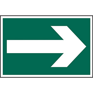 Spectrum Industrial Self-Adhesive PVC Fire Exit Arrow Sign