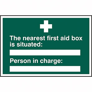 """Spectrum Industrial """"Nearest First Aid Box"""" First Aid Sign"""