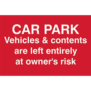 Car Park Notice Site And Security Sign