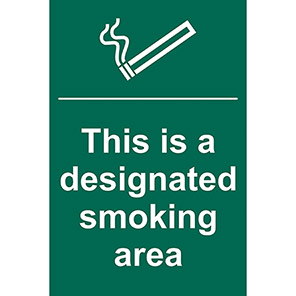 """Spectrum Industrial """"This is a Designated Smoking Area"""" Sign"""
