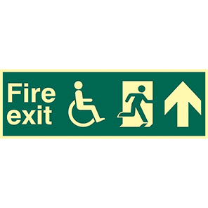 Fire Exit Disabled Up Arrow Sign
