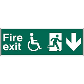 Fire Exit Disabled Down Arrow Sign