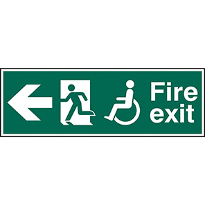 Fire Exit Disabled Left Arrow Sign