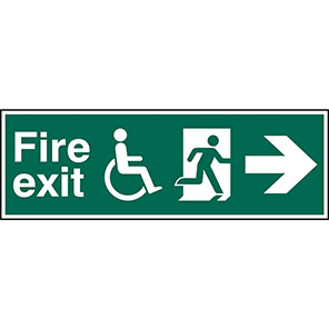 Fire Exit Disabled Right Arrow Sign