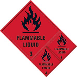 """Spectrum Industrial """"Flammable Liquid 3"""" Hazard Warning Diamond (Pack of 3)"""