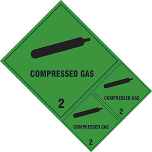 "Spectrum Industrial ""Compressed Gas 2"" Hazard Warning Diamond (Pack of 3)"