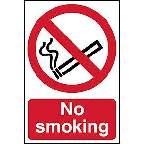"Spectrum Industrial Self-Adhesive PVC ""No Smoking"" Sign 400mm x 600mm"