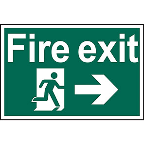 """Spectrum Industrial Self-Adhesive PVC """"Fire Exit"""" Right Running Man Sign"""