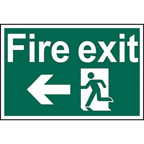 "Spectrum Industrial ""Fire Exit"" Left Running Man Sign 400mm x 600mm"