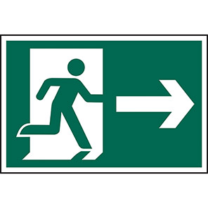 Spectrum Industrial Right Running Man Arrow Sign 400mm x 600mm