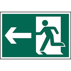 Spectrum Industrial PVC Fire Exit Left Running Man Sign 400mm x 600mm