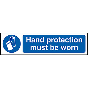 """Spectrum Industrial """"Hand Protection Must be Worn"""" Sign 50mm x 200mm"""