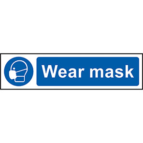 """Spectrum Industrial Self-Adhesive PVC """"Wear Mask"""" Sign 50mm x 200mm"""