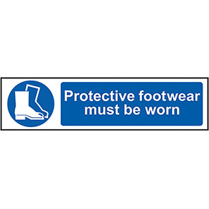 """Spectrum Industrial PVC """"Protective Footwear Must be Worn"""" Sign 50mm x 200mm"""