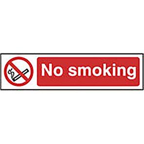 "Spectrum Industrial Self-Adhesive PVC ""No Smoking"" Sign 50mm x 200mm"