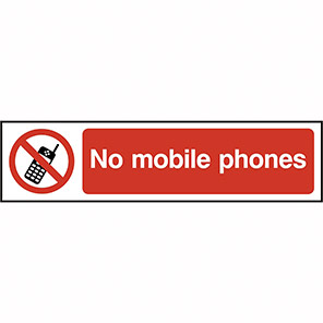 "Spectrum Industrial PVC ""No Mobile Phones"" Sign"