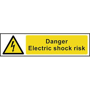 "Spectrum Industrial PVC ""Danger Electric Shock Risk"" Sign 50mm x 200mm"
