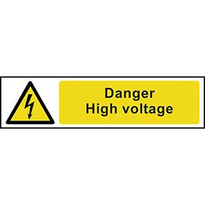 "Spectrum Industrial Self-Adhesive PVC ""Danger High Voltage"" Sign"