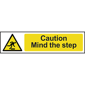 """Spectrum Industrial """"Caution Mind Your Step"""" Sign 50mm x 200mm"""