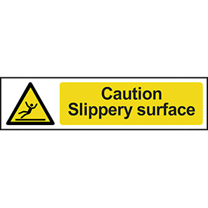 """Spectrum Industrial Self-Adhesive """"Caution Slippery Surface"""" Sign 50mm x 200mm"""