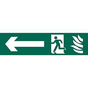 Spectrum Industrial Fire Exit Left Running Man Sign 50mm x 200mm
