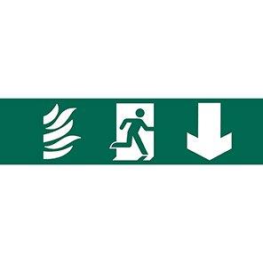 Spectrum Industrial PVC Fire Exit Down Arrow Sign 50mm x 200mm