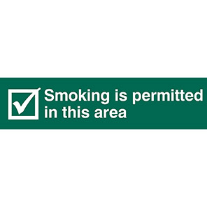 """Spectrum Industrial """"Smoking Permitted In This Area"""" Tick Sign"""