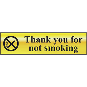 """Spectrum Industrial Gold Effect """"Thank You For Not Smoking"""" Sign"""