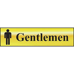 """Spectrum Industrial Self-Adhesive """"Gentlemen"""" Sign"""