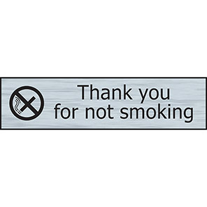 """Spectrum Industrial Steel Effect """"Thank You For Not Smoking"""" Sign"""