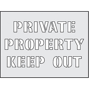 """Spectrum Industrial """"Private Property Keep Out"""" Stencil 190mm x 300mm"""