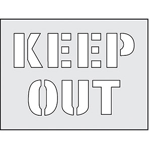 """Spectrum Industrial """"Keep Out"""" Stencil 190mm x 300mm"""