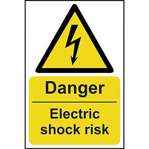 "Spectrum Industrial ""Danger Electric Shock Risk"" Sign 400mm x 600mm"