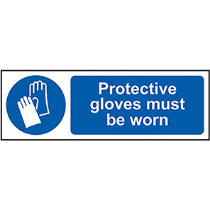 """Spectrum Industrial PVC """"Protective Gloves Must be Worn"""" Sign 50mm x 200mm"""