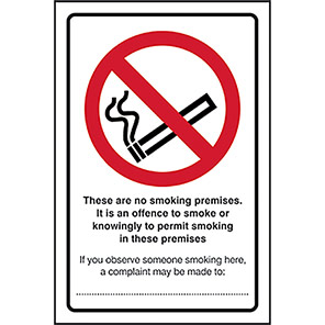 """Spectrum Industrial Self-Adhesive Vinyl """"These Are No Smoking Premises"""" Sign"""