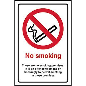 "Spectrum Industrial Self-Adhesive ""No Smoking Premises"" Sign 200mm x 300mm"