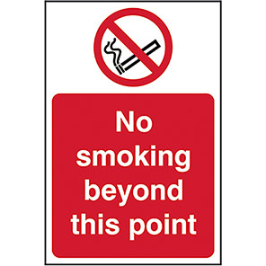 """Spectrum Industrial Self-Adhesive """"No Smoking Beyond This Point"""" Sign"""