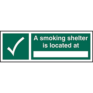 A Smoking Shelter Is Located At... Signs