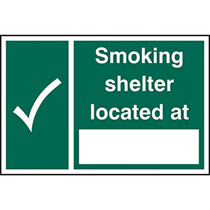 Smoking Shelter Located At... Sign
