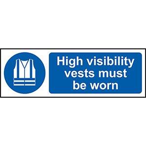 """Spectrum Industrial """"Hi-Vis Vest Must Be Worn"""" Sign 200mm x 600mm"""