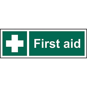 """Spectrum Industrial Self-Adhesive Vinyl """"First Aid"""" Sign 100mm x 300mm"""