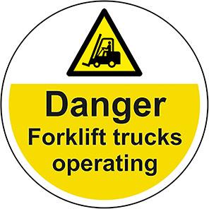 """Spectrum Industrial """"Danger Forklift Trucks Operating"""" Floor Graphic"""