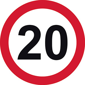 Permanent 20 mph Road Signs