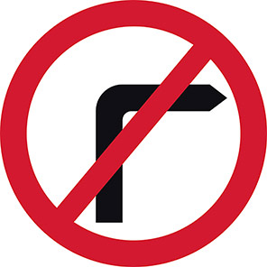 No Right Turn Permanent Road Sign