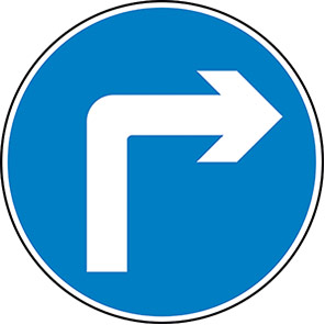 Right Turn Permanent Road Sign